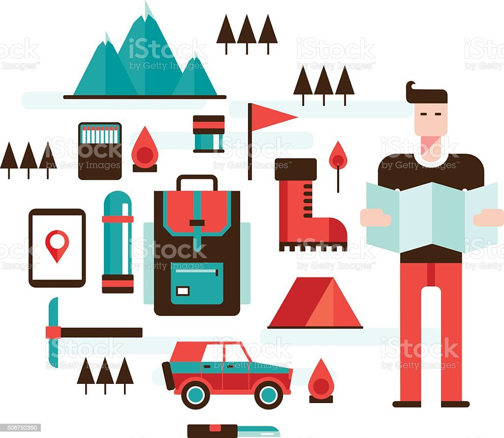 Man with map Mountain hiking climbing Camping Travel Sport concept vector art illustration