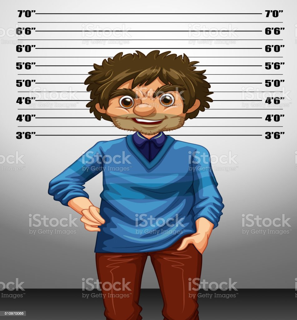 Man with measuring height vector art illustration