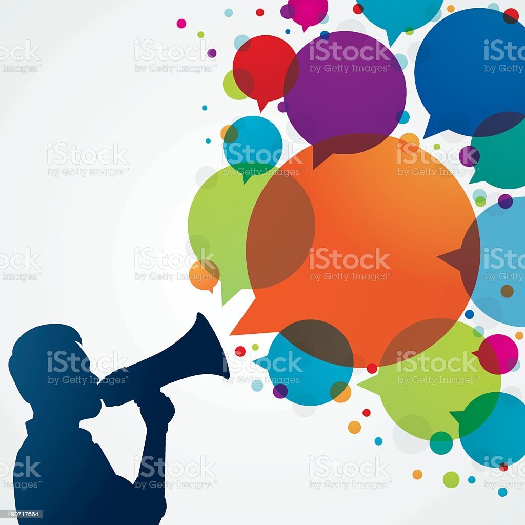 Man with megaphone and speech bubbles vector art illustration