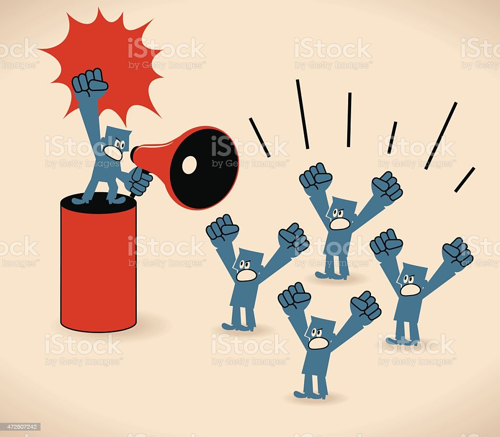 Man with megaphone in front of crowd protesters vector art illustration
