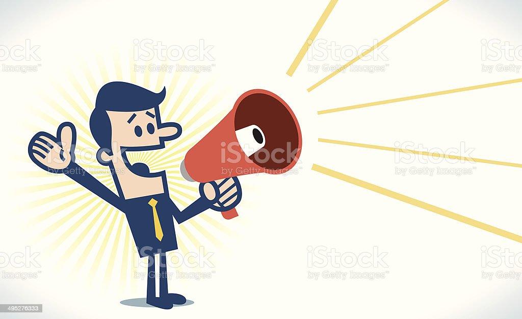 Man with megaphone vector art illustration