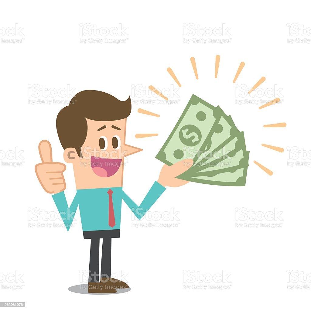 Man with money vector art illustration