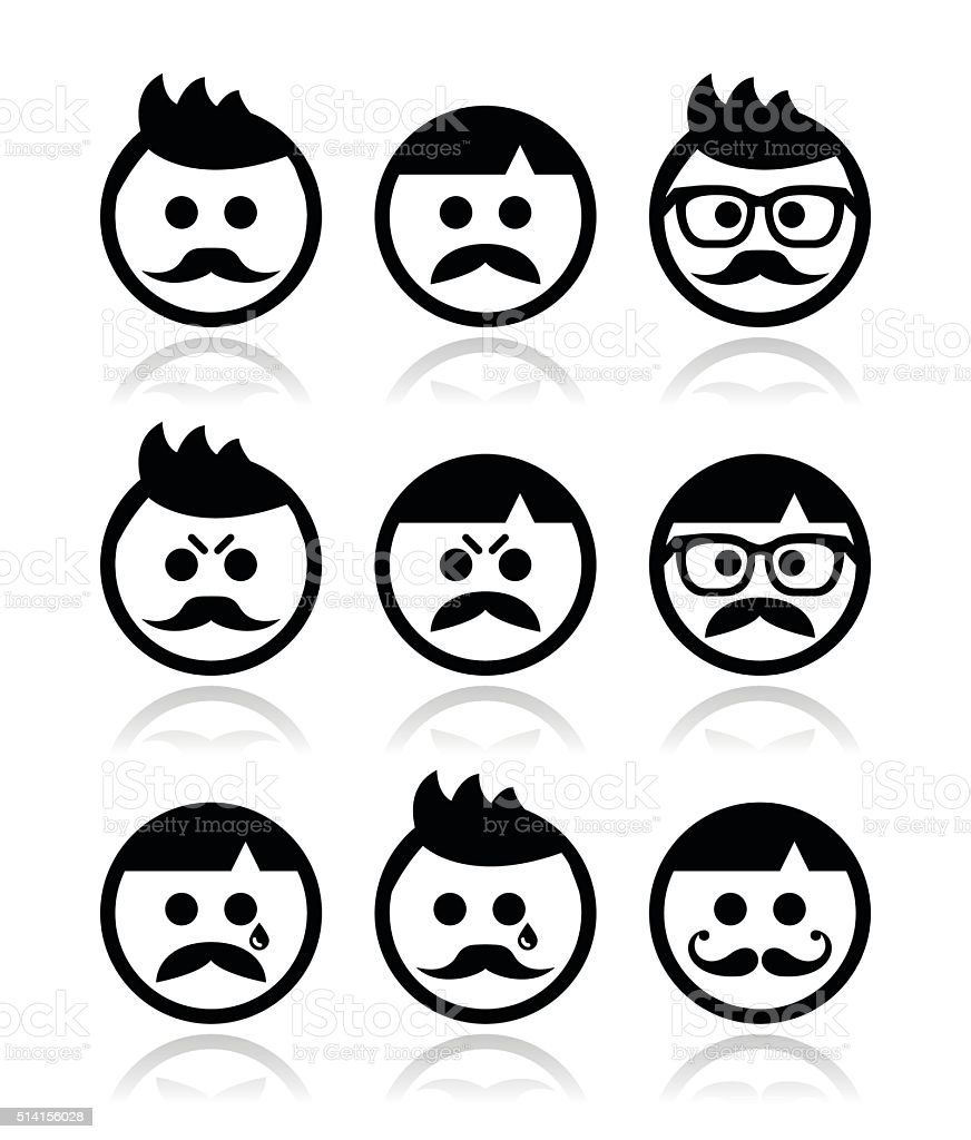 Man with moustache or mustache, avatar vector icons set vector art illustration