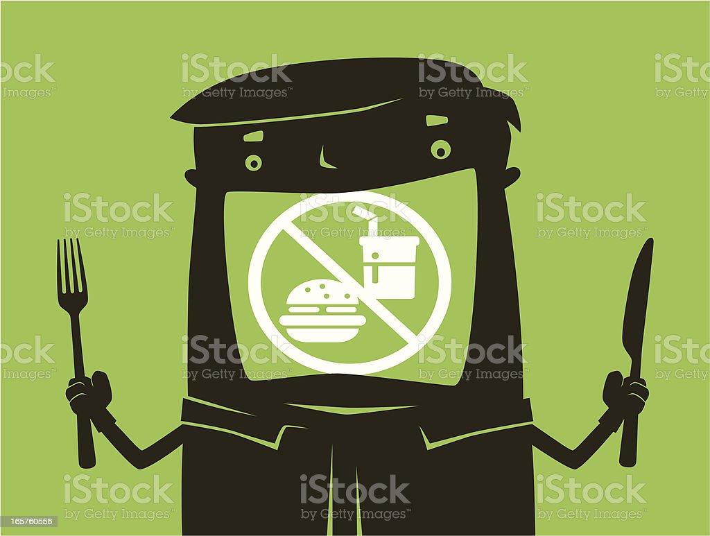 man with no junk food symbol silhouette vector art illustration