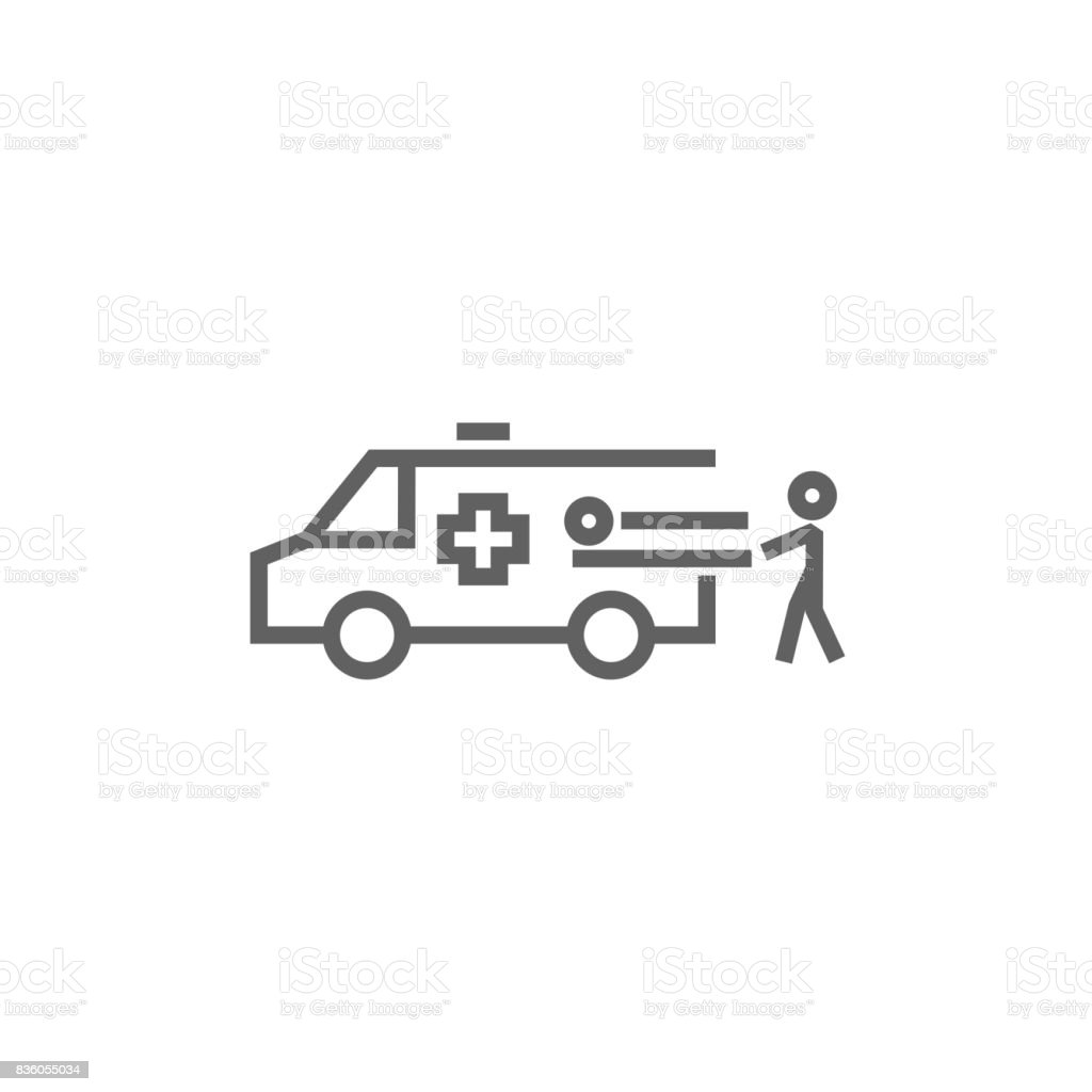 Man with patient and ambulance car line icon vector art illustration