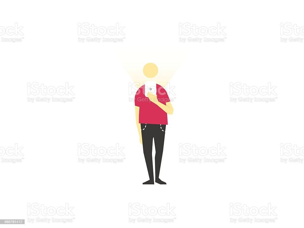 Man with phone. vector art illustration