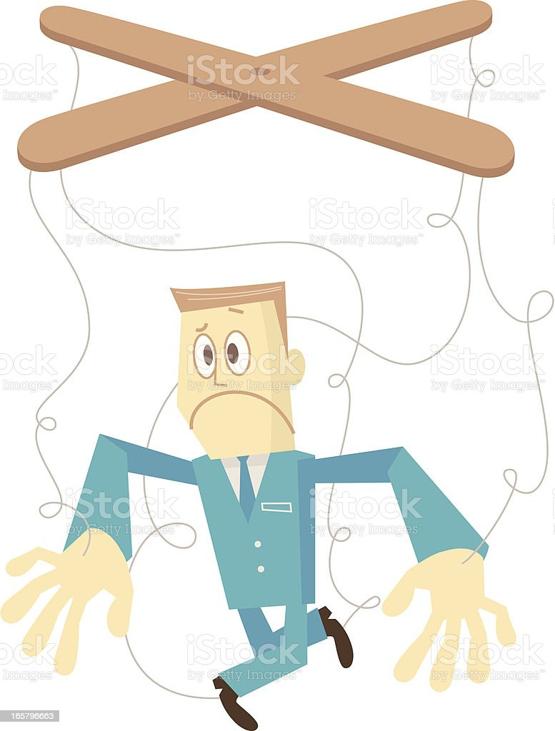 man with puppet strings attached to his hands and feet royalty-free stock vector art