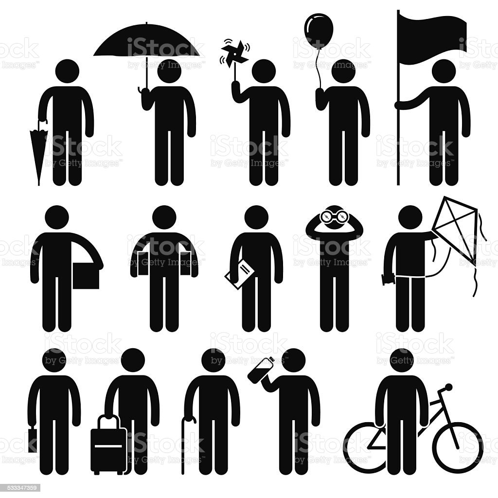 Man with Random Objects Stick Figure Pictogram Icons vector art illustration