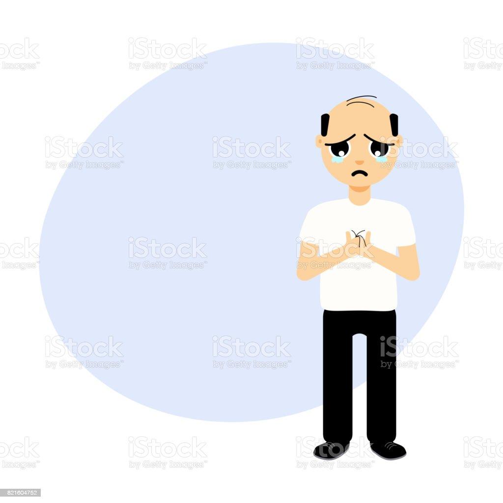 Man with receding hair vector art illustration
