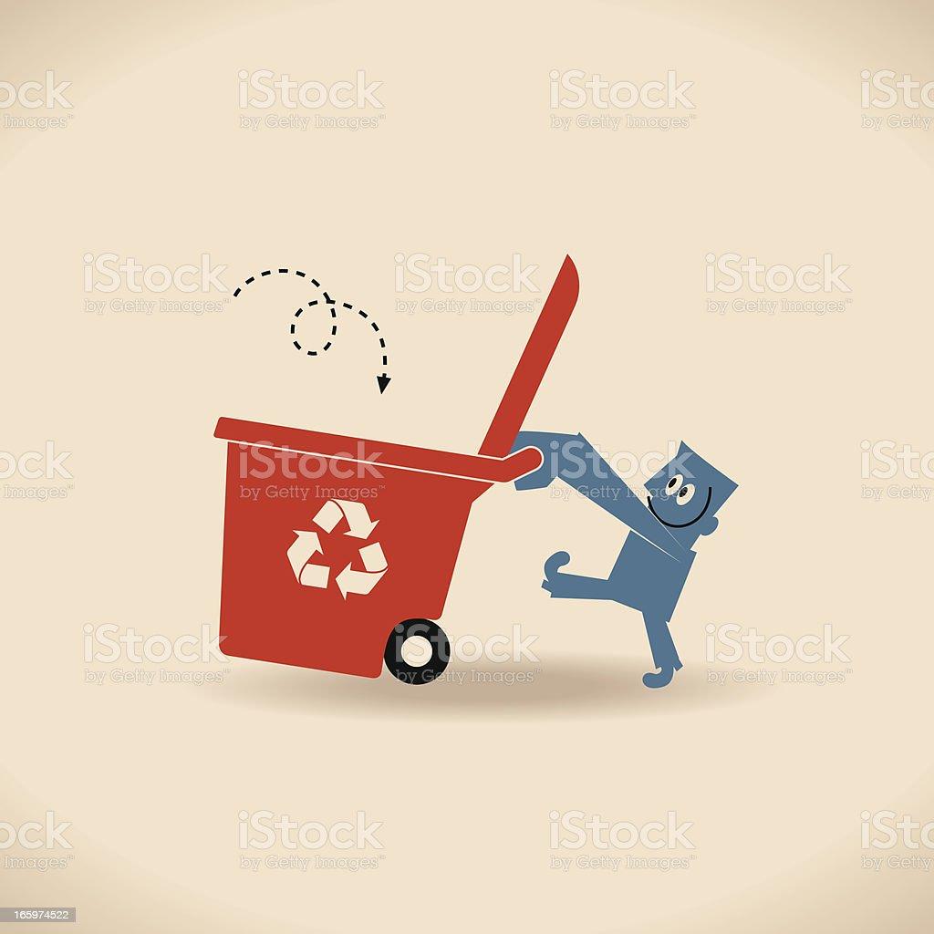 Man with Recycling Bin vector art illustration