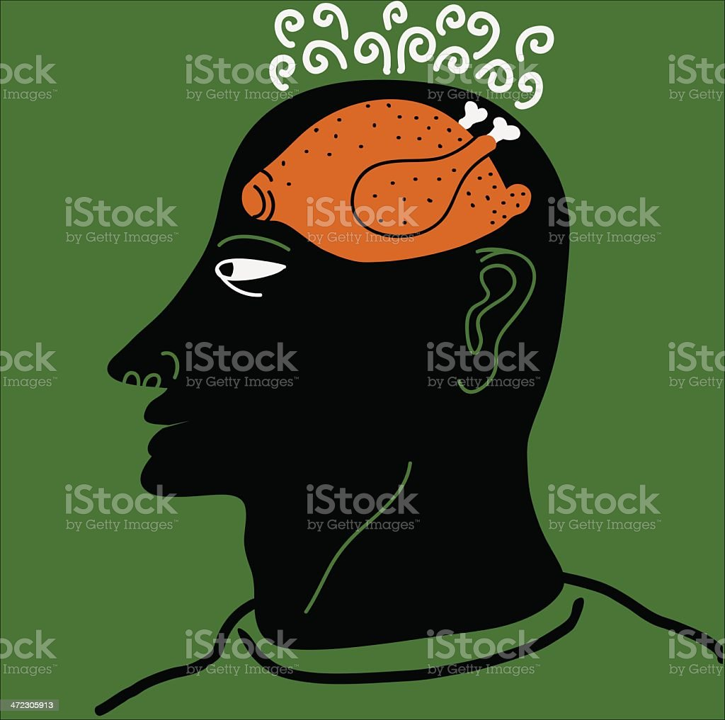 man with roosted chicken inside its head royalty-free stock vector art