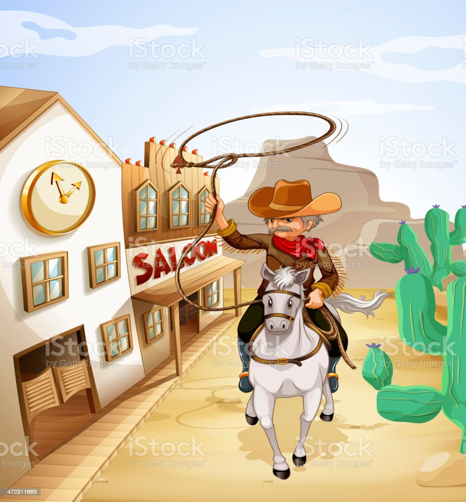 Man with rope riding in horse royalty-free stock vector art