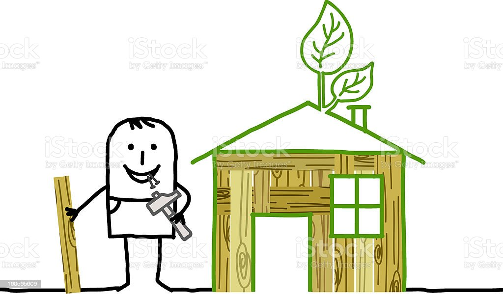 man with self-made wood house vector art illustration