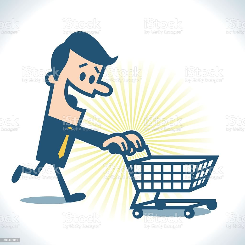 Man with shopping cart vector art illustration