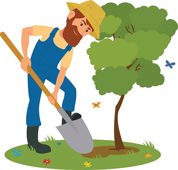 Man Digging Garden Clip Art, Vector Images & Illustrations