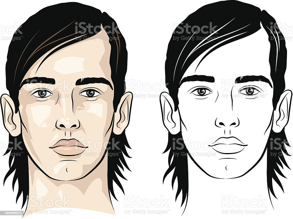 Man with side parted hair royalty-free stock vector art