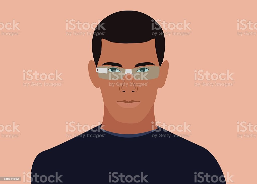 Man with smart glasses on vector art illustration