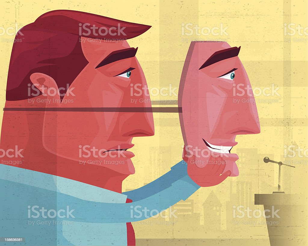man with smiling face mask vector art illustration