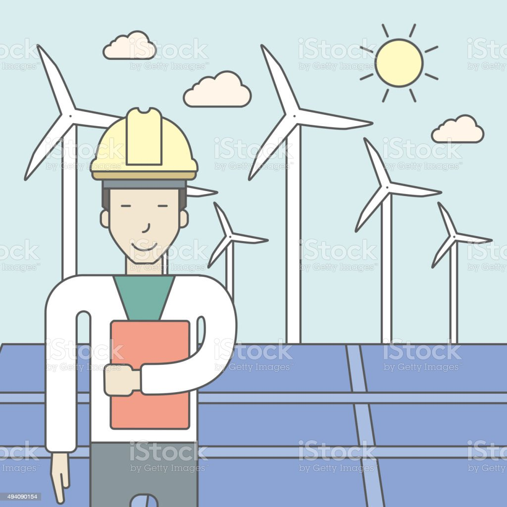 Man with solar panels and wind turbines vector art illustration