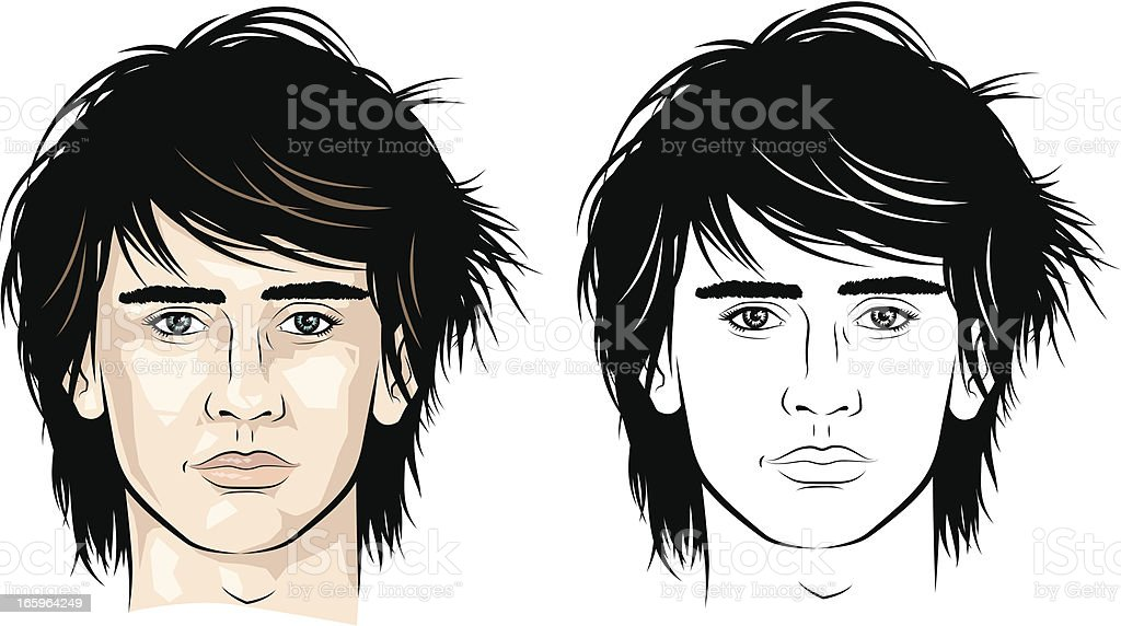 Man with spiky side parted hair royalty-free stock vector art