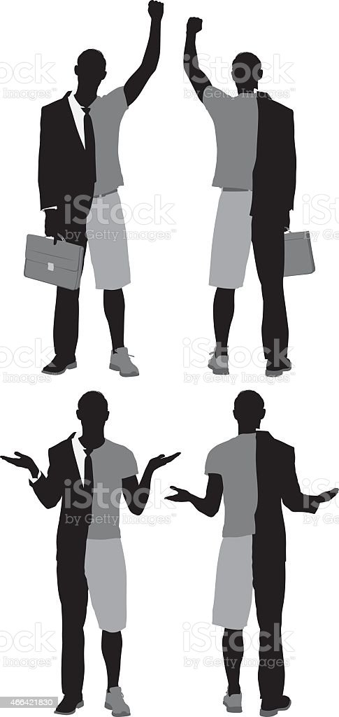 Man with split personality vector art illustration