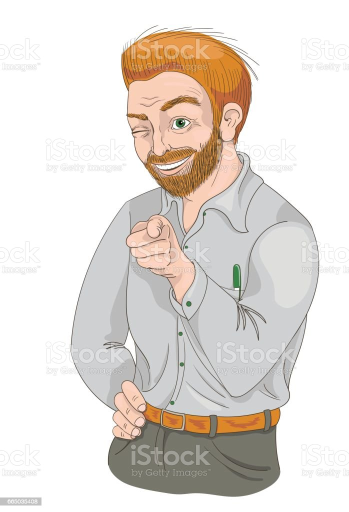 Man with squinty eye pointing finger and smiling vector art illustration