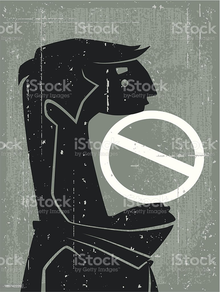 man with stop sign royalty-free stock vector art