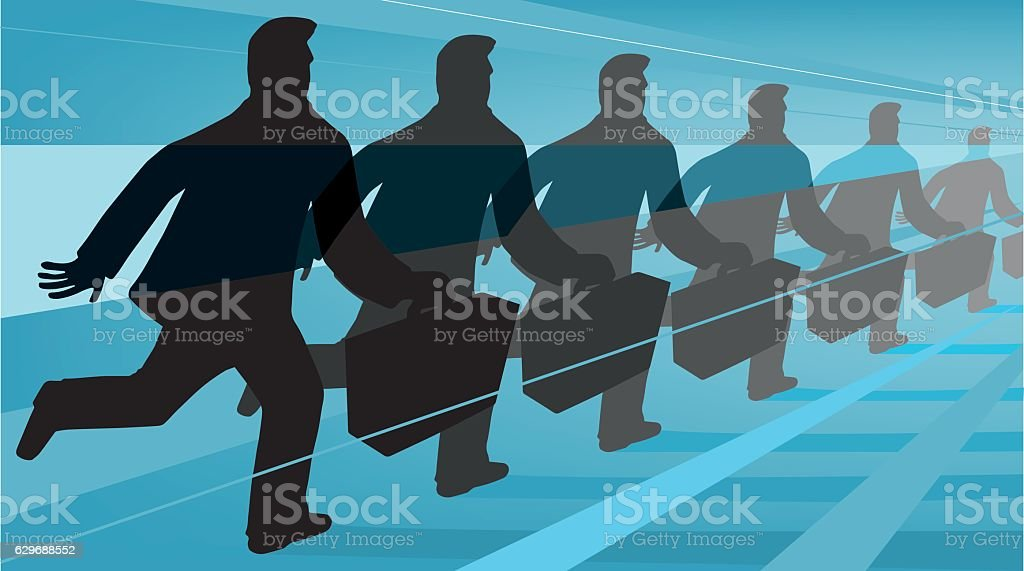 Man with suitcase in space-time continuum vector art illustration