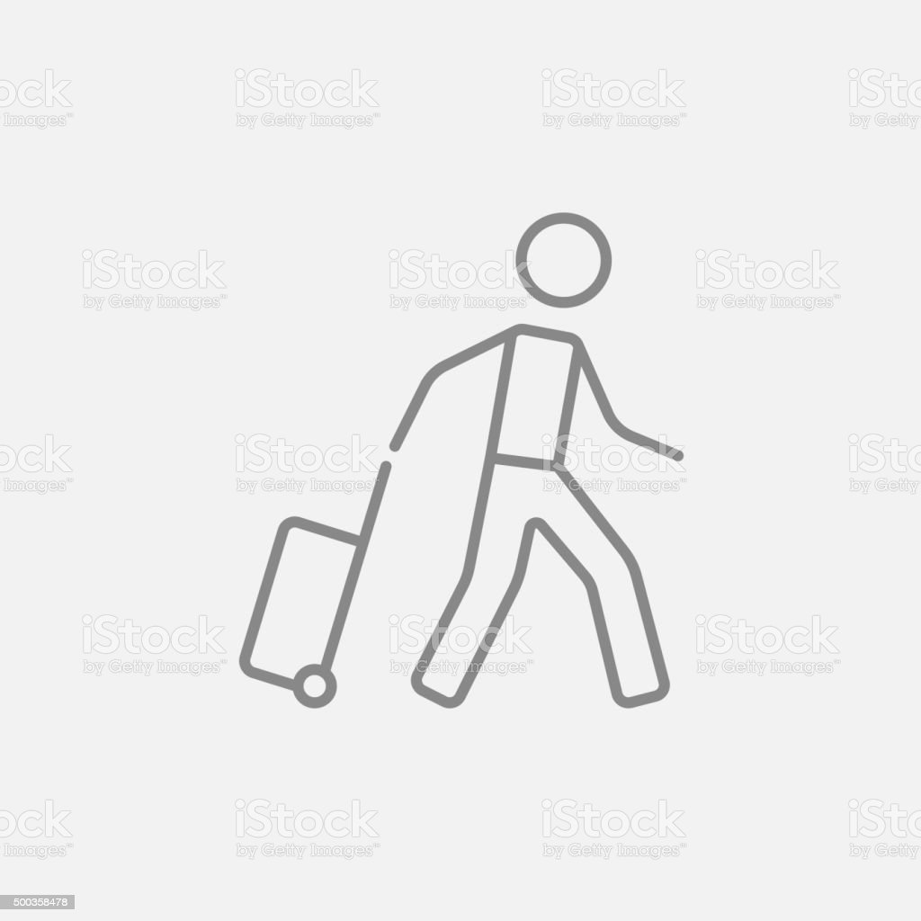 Man with suitcase line icon vector art illustration