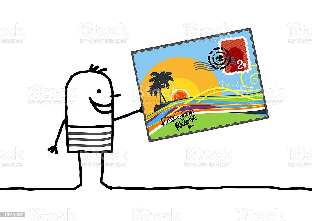 man with summer postcard royalty-free stock photo