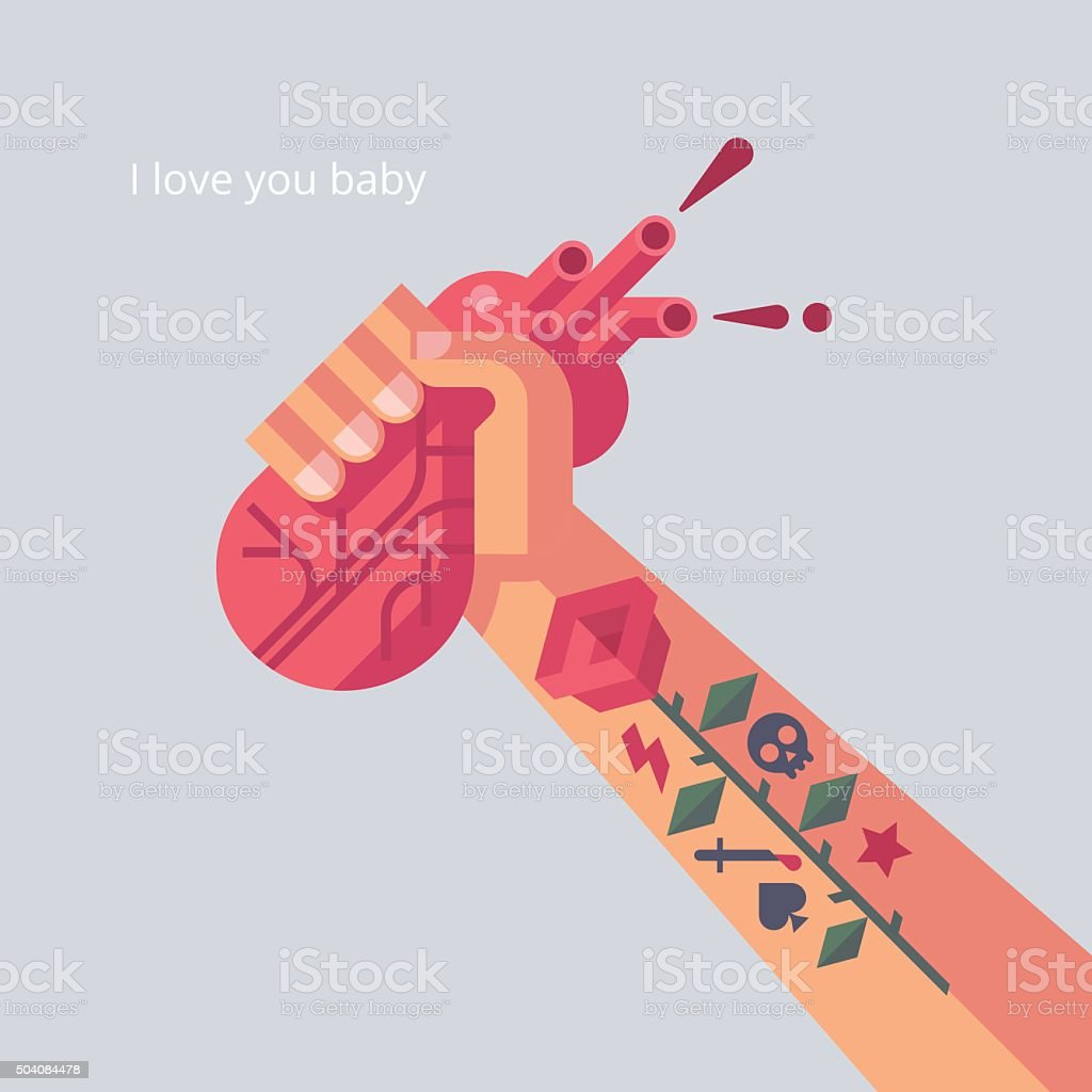 Man with tattoo is holding a his heart in hand. vector art illustration