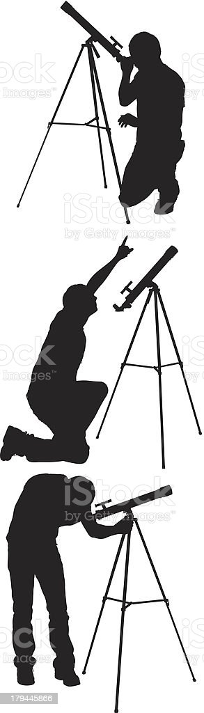 Man with telescope royalty-free stock vector art