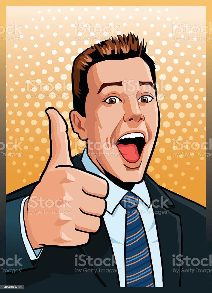 Man With Thumbs Up - Winning Gesture vector art illustration