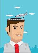 Man with Travel Dream Vector Cartoon Illustration