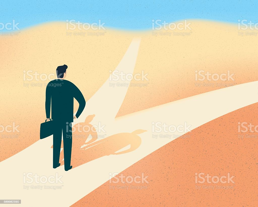 Man with two shadows each on a different road vector art illustration