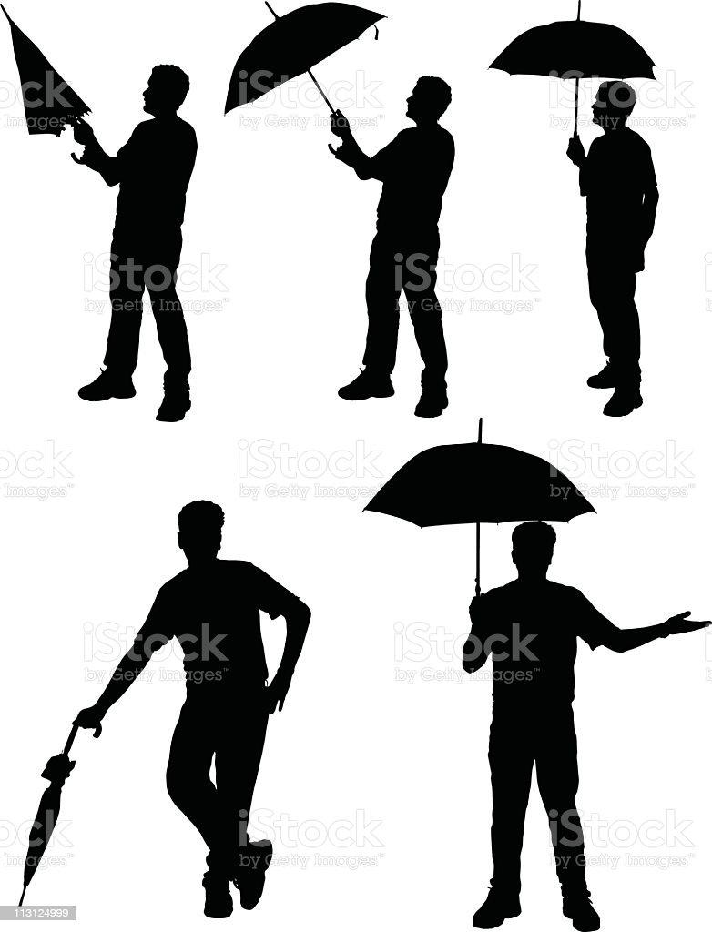 Man with Umbrella (Vector) royalty-free stock vector art