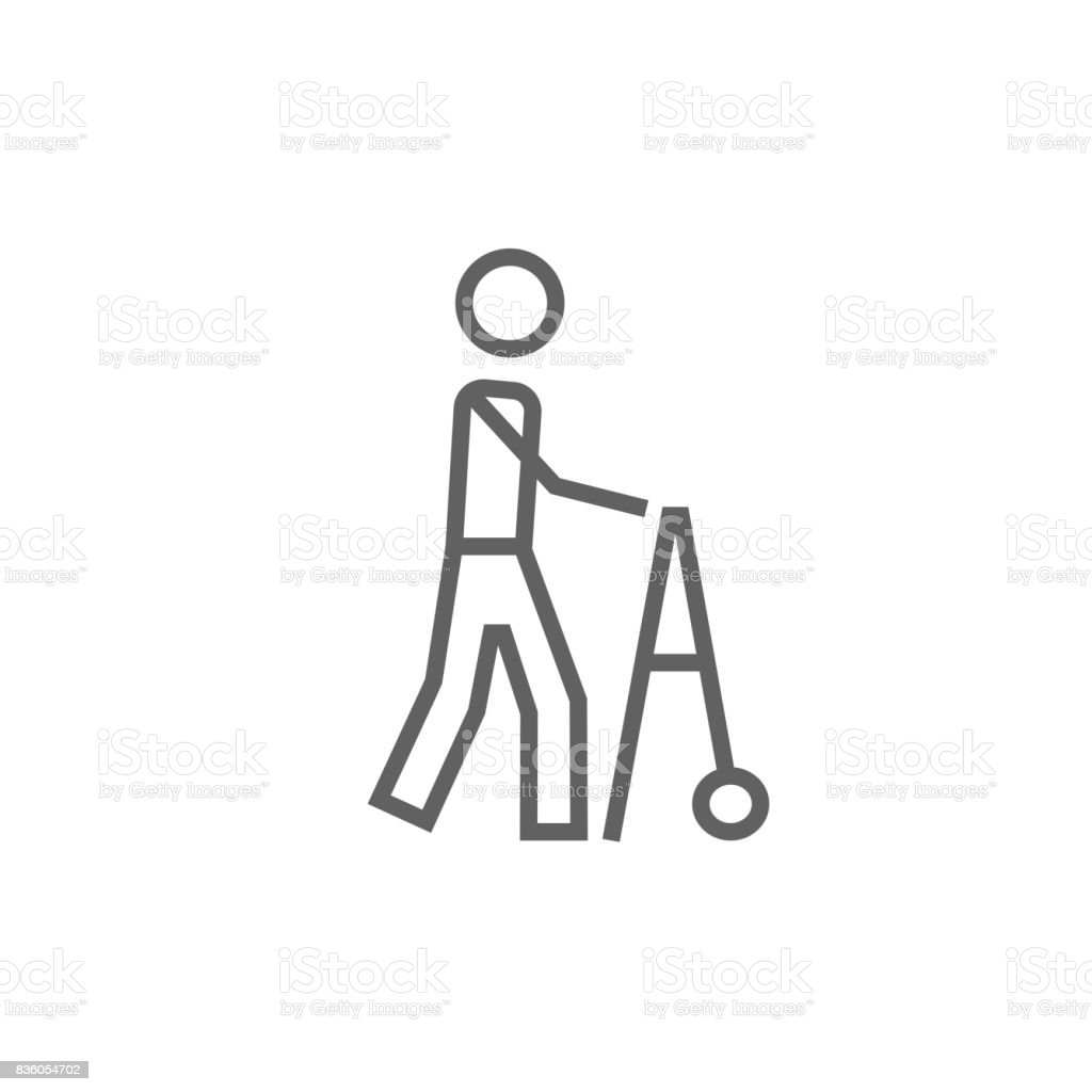 Man with walker line icon vector art illustration