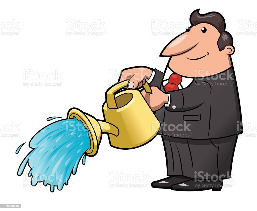 Man with watering can pouring water vector art illustration