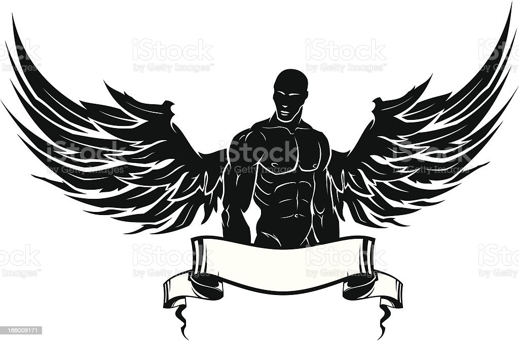 man with wings stock vector art 166009171 | istock, Muscles