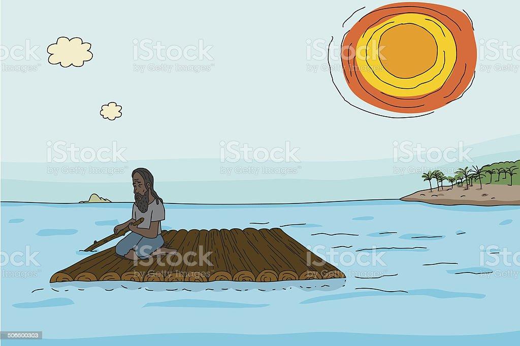 Man with Wooden Raft vector art illustration