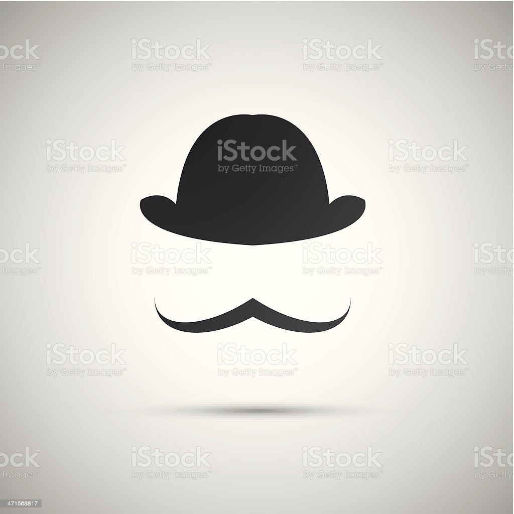 man without a face with a mustache and hat vector art illustration