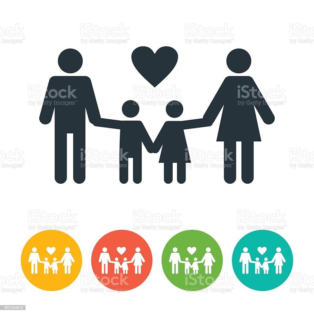 Man, Woman and Children Icon vector art illustration
