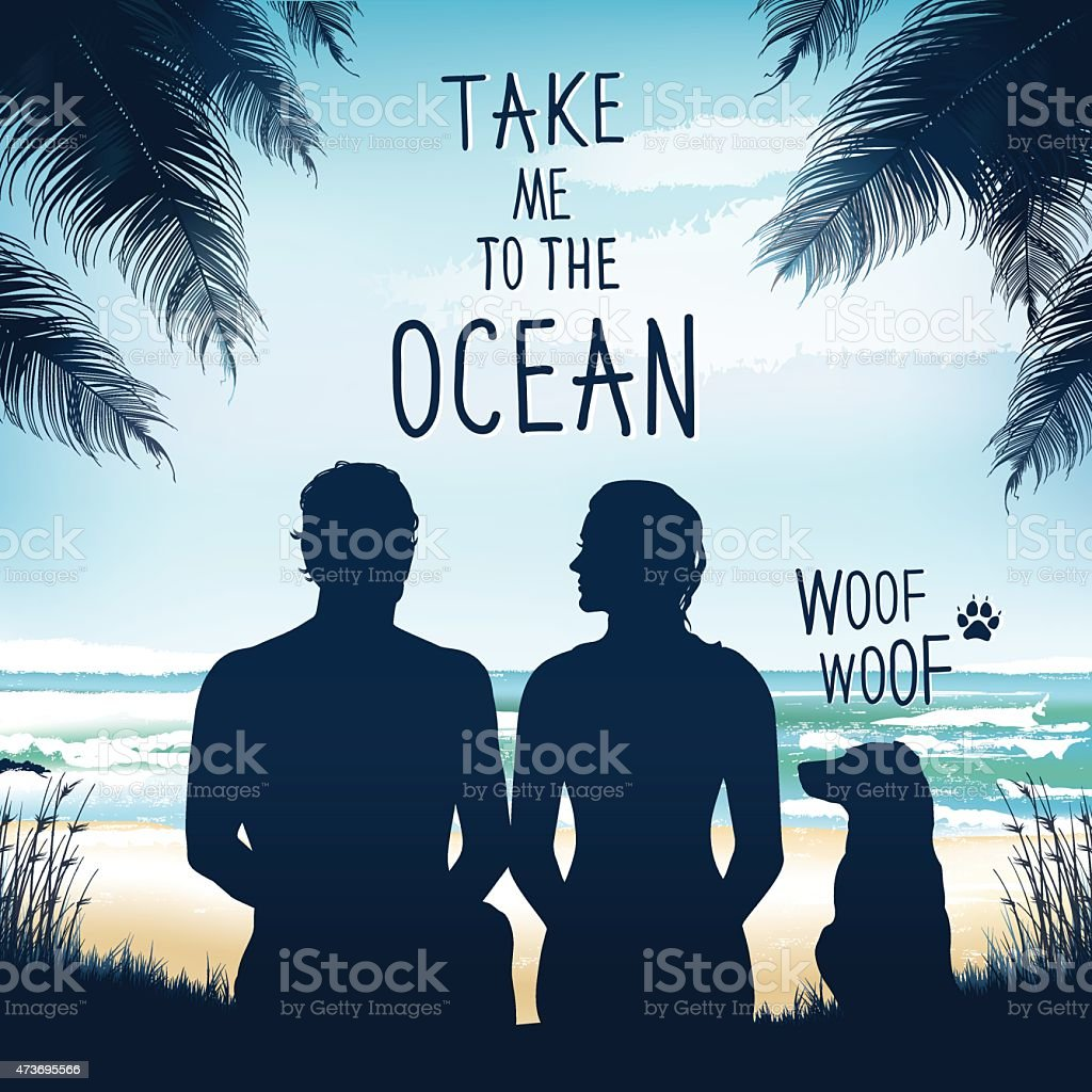 Man, woman and dog sitting at the beach vector art illustration