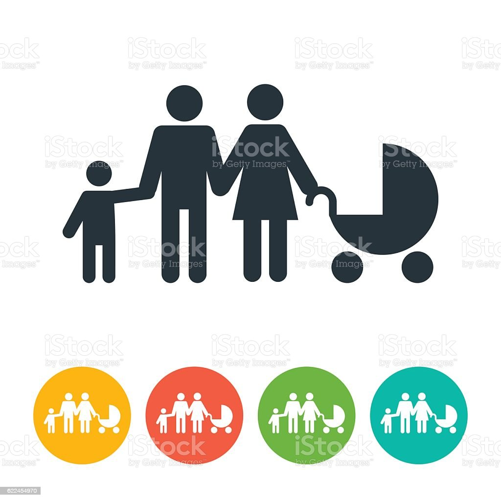 Man, Woman, Child and Baby Carriage Icon vector art illustration