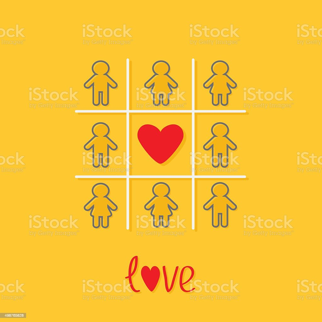 Man Woman contour icon Tic tac toe heart Yellow Flat vector art illustration