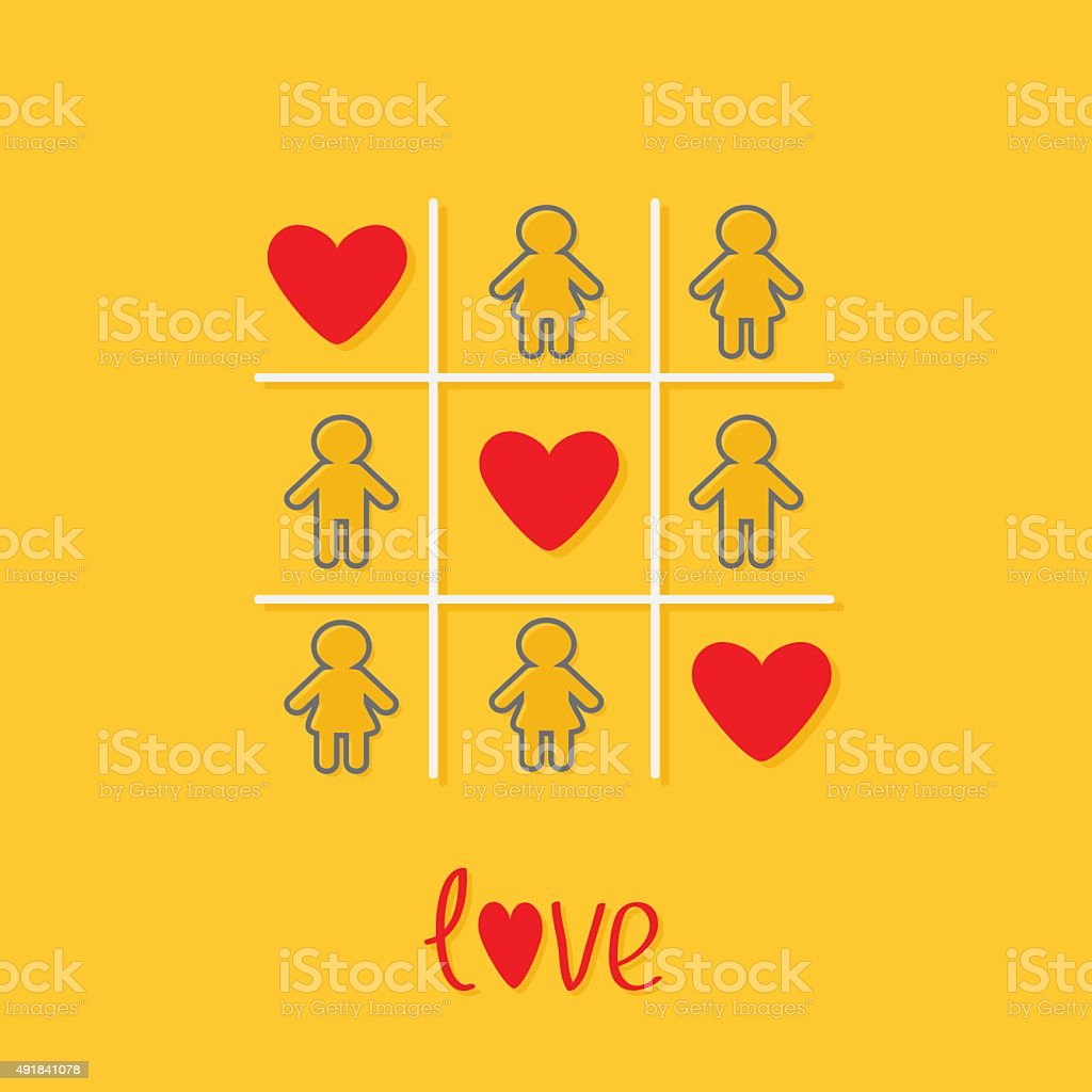 Man Woman contour icon Tic tac toe Three red heart vector art illustration
