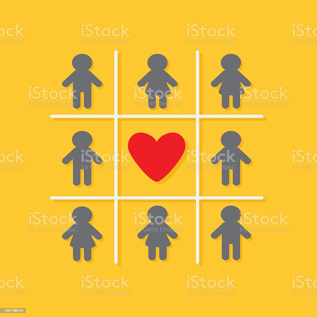 Man Woman icon Tic tac toe. Red heart  Yellow Flat vector art illustration