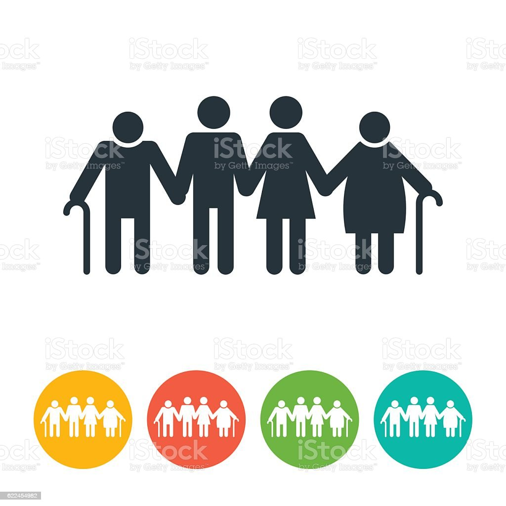 Man, Woman, Old Man and Old Woman Icon vector art illustration