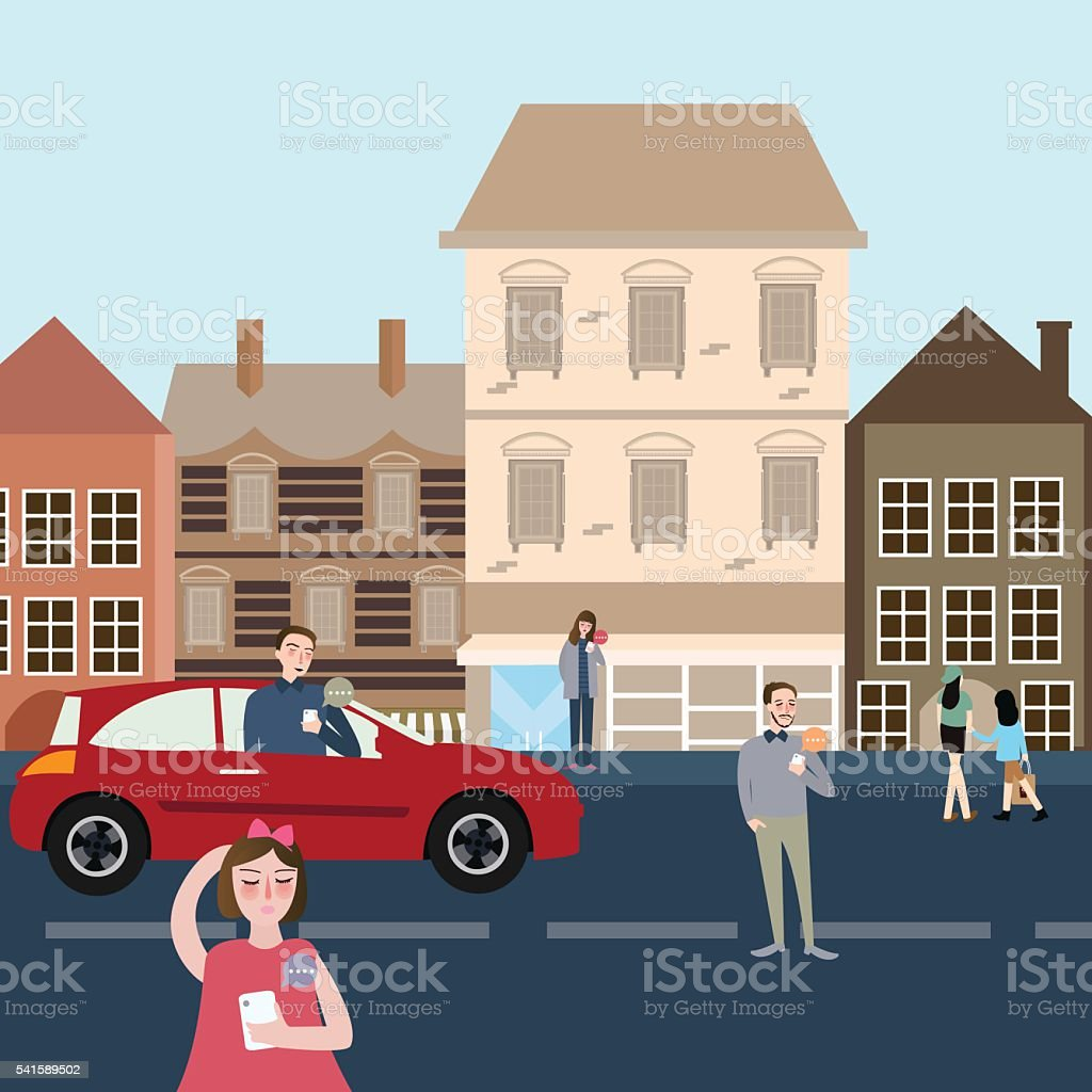 man woman people on the street and car using their vector art illustration