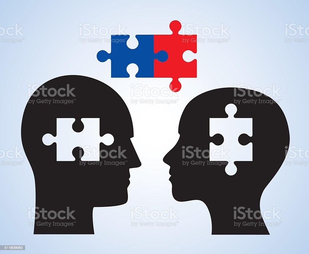 Man Woman Puzzle Piece Heads vector art illustration
